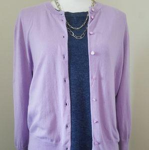 JCrew Lavender Mostly Cotton Cardigan L